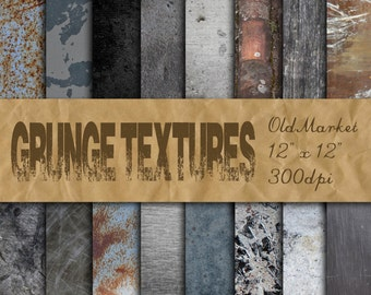 Grunge Textures - Grunge Digital Paper Backgrounds - Grunge Metals - 16 Designs - 12in x 12in - Commercial Use - INSTANT DOWNLOAD