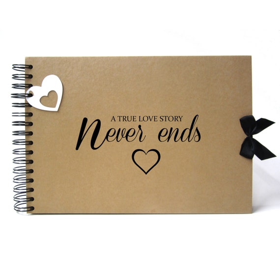 Scrapbook, A5 A4 True Love Story Never Ends, Landscape, Card Pages, Photo Album, Keepsake
