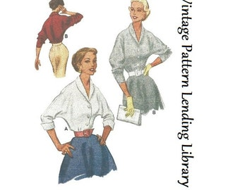 1950s Ladies Dolman Sleeve Blouse - Reproduction Sewing Pattern #F9179