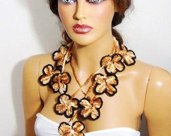 Crochet Black Light Brown Beige Lace Flower Women Lariat Long Scarf, Flower Long Scarf Lariat