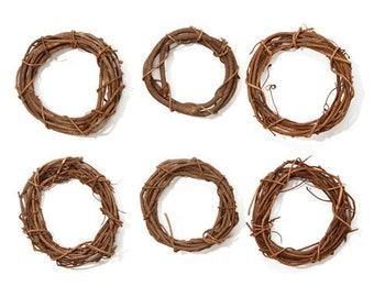 Brown Grapevine Wreath Round- 4 inches- SET OF 6 - Shabby Rustic Wedding Party Home Decor