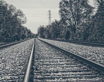 Railroad Tracks Fine Art Photography, Railfan Art, Railroad, Joliet, Illinois, Midwestern Industrial Chic, Man Cave Decor, Train, Chicago