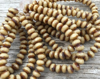 Beige rondelle beads, 5x3 beige, neutral czech glass beads with picasso finish