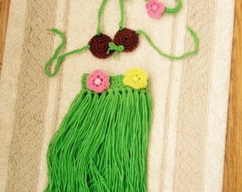 3pc Crocheted Baby Luau Hula Set