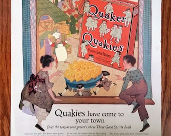 1920 July The Ladies Home Journal - Ad for The Eden Washing Machine and Ad fo Quaker Quakies Pure Corn Flakes - Magazine Illustration