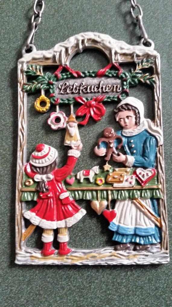 Midcentury Pewter Handpainted Ornament - Little Girl and Woman at Bakery -