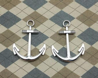 10 Pcs Antique Silver Anchor Charm Nautical Charm Sailor Charm Pirate Vintage Style Pendant Charm 30mmx40mm