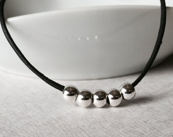 Leather and Silver Bead Necklace / Sterling Silver Beaded Necklace / Silver Beaded and Leather Necklace / Black Round Leather/