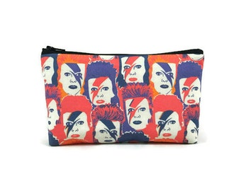 David Bowie Makeup Bag, Ziggy Stardust Zipper Pouch, Zippered Pouch, Glam Rock Bag, Tampon Case, Purse Organizer, Glam Bag