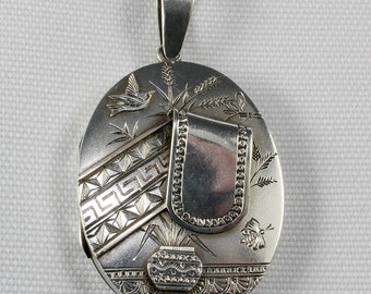 Sterling Silver Victorian Locket with Rose Gold features