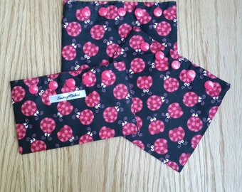Reusable snack/sandwich bags - 3 piece set - ladybugs - eco friendly - snack pouch - polka dots - kid's snack bag - cotton bag - red - black