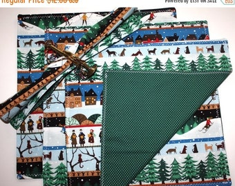 "5 DAY SALE SALE!  Set of Four Hand Sewn 12"" Christmas/Holiday Reversible Fabric Napkins - Our Town Pattern"