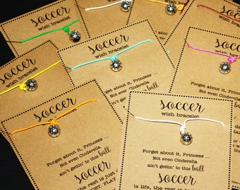12 Cinderella Soccer Ball Wish Bracelets ... Pick Your Color ... Great for Gifts, Team Spirit, Birthday Favors and More!