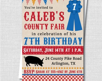 County Fair Birthday Invitation - Summer County Fair Themed Party - Digital Design or Printed Invitations - FREE SHIPPING