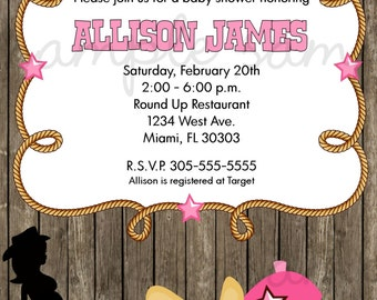 Cowgirl Baby Shower Invitation   Pink Baby Shower Invitation   Western Baby  Shower Invite   Baby