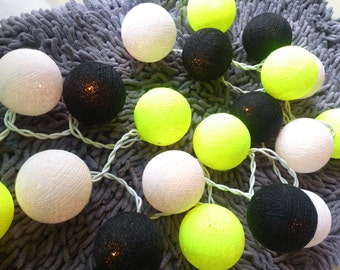 Spice Cotton Ball Lights for home decoration,wedding patio,indoor string lights,bedroom fairy lights,20 Bulbs