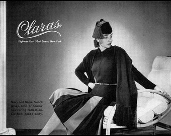 1940 Vintage Ad Claras Custom Made Clothes NYC, Navy and Flame Jersey Dress. Tassle Hat, Vintage 1940s Fashion Ad, Additional Ads SHIP FREE!