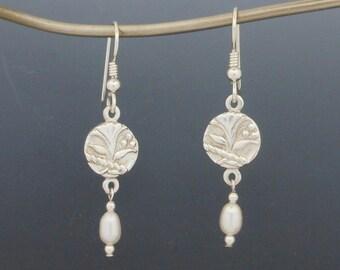 Sterling Silver Earrings,Handmade Jewelry, Artisan Earrings, Antique Button Jewelry, Silversmith, Floral Earrings, Lily Earrings