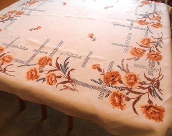 "Carnation tablecloth in gold / vintage 1950 floral tablecloth   50"" x 52"""