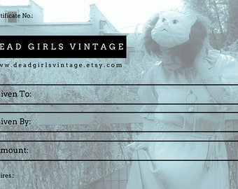 Gift Ceriticate 50 Dead Girls Vintage Gift Certificate Fifty Dollars
