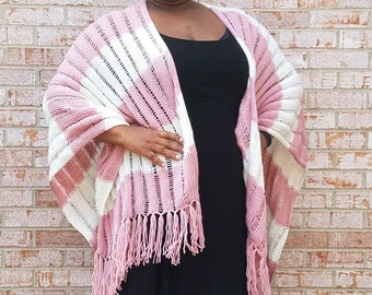 Rose Pink and Off White Stripe Knit Shawl with Fringe - Cover up