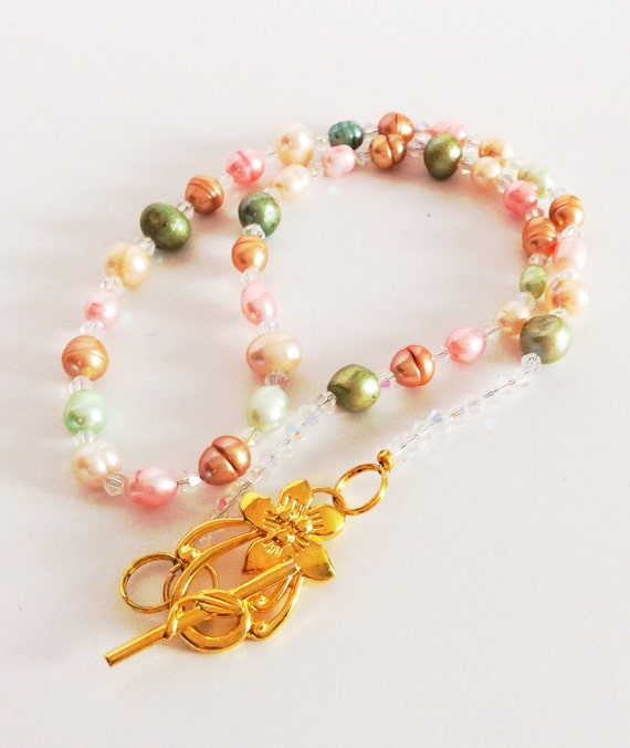 CULTURED FRESHWATER PEARL Necklace Multicolored Pastel