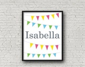 30% Off Christmas Sale Personalised Name Print, Nursery Print, Bunting Print, Kids Room Decor, Childrens, 8 x 10 Print, Children's Art, Colo