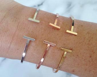 Lydia - Open Cuff Bracelet in Silver, Gold & Rose Gold