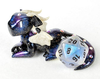 Galaxy dragon dice holder figurine - d20 dice guardian - star themed polymer clay dragon figurine - dungeons and dragons - DnD