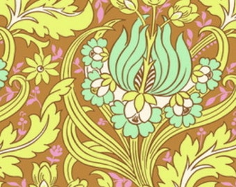 CLEARANCE Temple Tulips In Cinnamon Fabric Amy Butler Soul Blossoms Quilters Cotton Tan Aqua Yellow Floral Half Yard