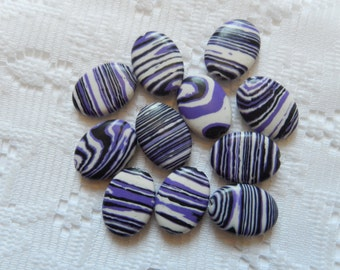 11  Purple Black & White Striped Turkey Turquoise Howlite Flat Oval Beads  18mm x 14mm