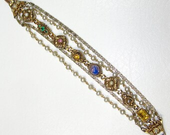 Vintage Barclay Bracelet Gold Pearl Rhinestone Art Glass Stone Multi Strand Chains 7.25""