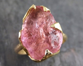 Raw Rough Pink Topaz 18k Gold Ring One Of a Kind Gemstone Ring Recycled gold byAngeline 0076
