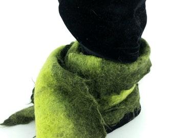 Green Alpaca hand felted scarf