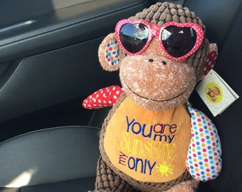 "MONKEY 12 "" Cubbie Machine Embroidered Personalized Patchwork Monkey sunglasses not included"