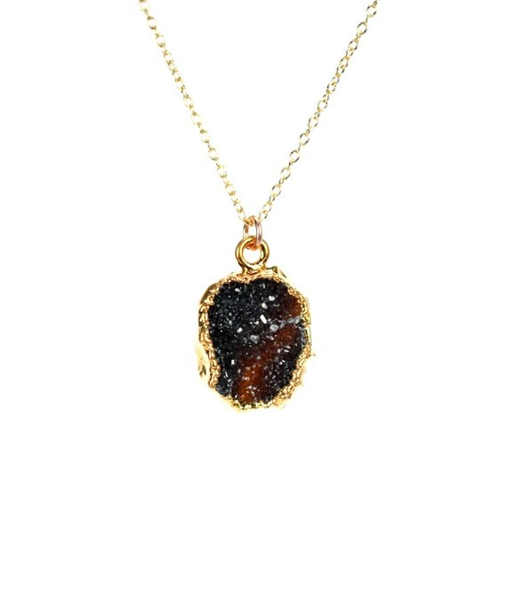 Druzy necklace - black crystal necklace - raw crystal necklace - druzy quartz - raw quartz - a black druzy on a 14k gold vermeil