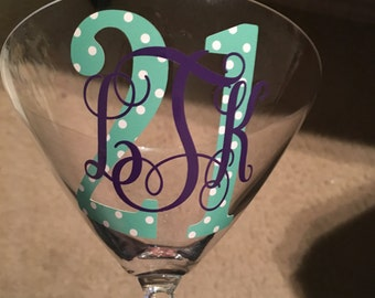 21st Birthday Monogramed Martini Glass