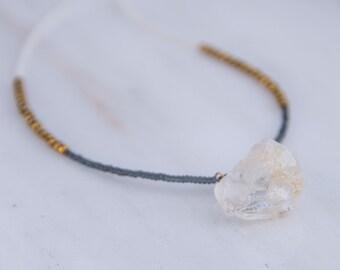 Grey, white, and gold hematite necklace with raw quartz pendant>>> Handmade necklace>>> Beaded necklace>>> boho jewelry