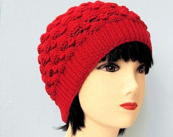 Womens Beanie, Red Beanie, Red Hat, Knit Hat, Organic Cotton Beanie Hat, Womens Accessories, Gifts for Her, Ladies Hats by Sue Maun