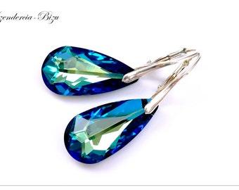 Silver earrings, Swarovski Teardrop, Teardrop Bermuda Blue, Sterling silver earrings, Teardrop earrings, Turquoise earrings, Bridal earrings