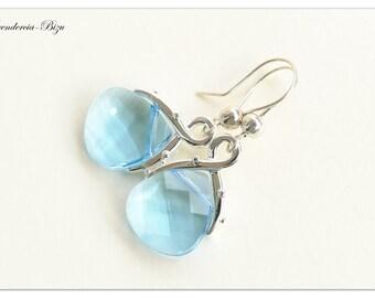 Silver earrings, Swarovski Elements, Flat Briolette 15mm Aquamarine, Aquamarine earrings, Briolette earrings, Light Blue earrings