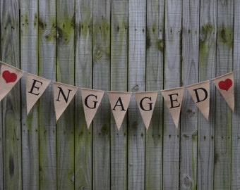Burlap Banner ENGAGED Banner Engagement Party  Bunting Garlands Bridal Shower Burlap Banner