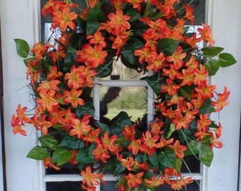 Orange Lily Wreath