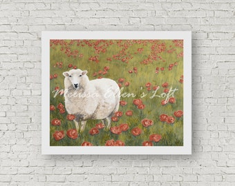 """Sheep painting, art print, mixed media, """"Pausing in the Poppies"""""""