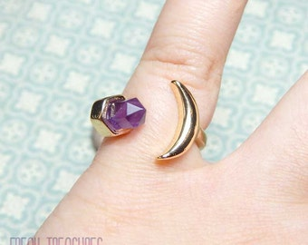 witchy boho amethyst/moon midi ring kawaii, soft grunge, moonchild