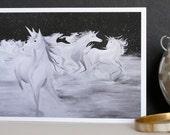 Starlight Run, Hand Illustrated A6 Greetings Card,unicorn card, magical card, illustrated card, hand drawn card, fantasy card
