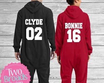 Bonnie and Clyde Pjs Bride and Groom Pajamas, Footie Pajamas, Pjs, Husband and Wife Pajamas