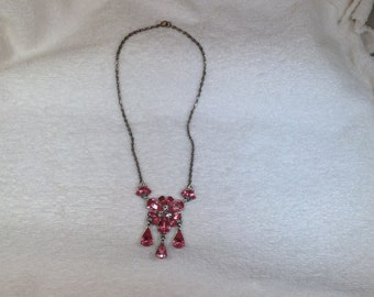 Pink and Clear Vintage Necklace