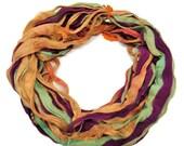 SALE New! Premium Sari Silk Chiffon Printed Ribbon , A,  100g