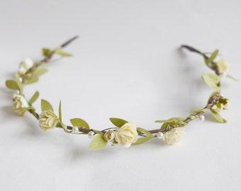 Bridal Flower Crown, rustic flower crown, bridal hair accessories, wedding hair accessories, flower circlet, floral crown, - ARTEMIS -